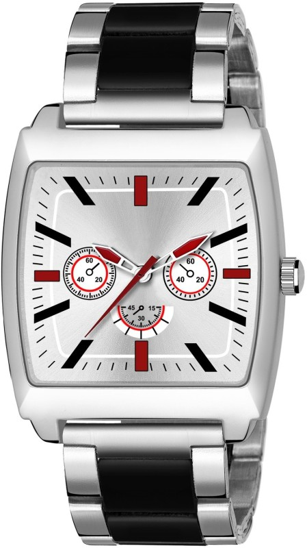 GANESH FASHION FAST AND TRACK TYPE GF-STYLE FULL BLACK+RED+SILVER SQUARE DIAL MENS WATCH. Analog Watch - For Men