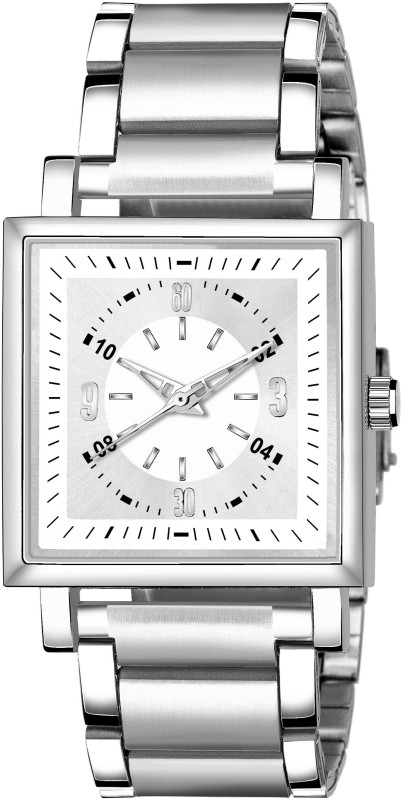 GANESH FASHION FAST AND TRACK TYPE GF-STYLE FULL SILVER SQUARE DIAL & SILVER STRAP MENS WATCH. Analog Watch - For Men