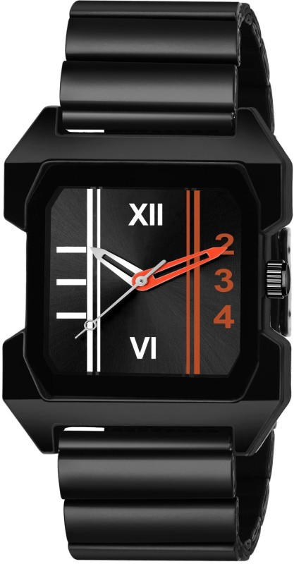 GANESH FASHION FAST AND TRACK TYPE GF-STYLE FULL BLACK+RED+WHITE SQUARE DIAL MENS WATCH Analog Watch - For Men