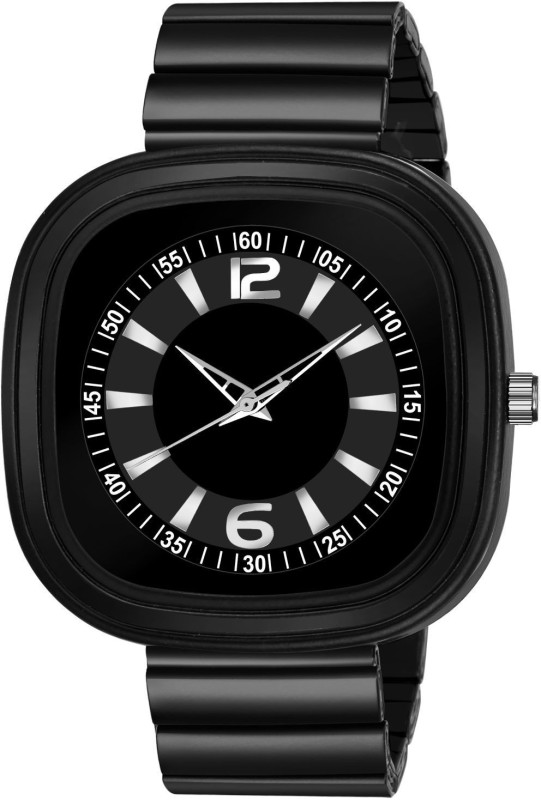 GANESH FASHION FAST AND TRACK TYPE GF-STYLE FULLY BLACK+WHITE SQUARE DIAL & BLACK STRAP MENS WATCH. Analog Watch - For Men