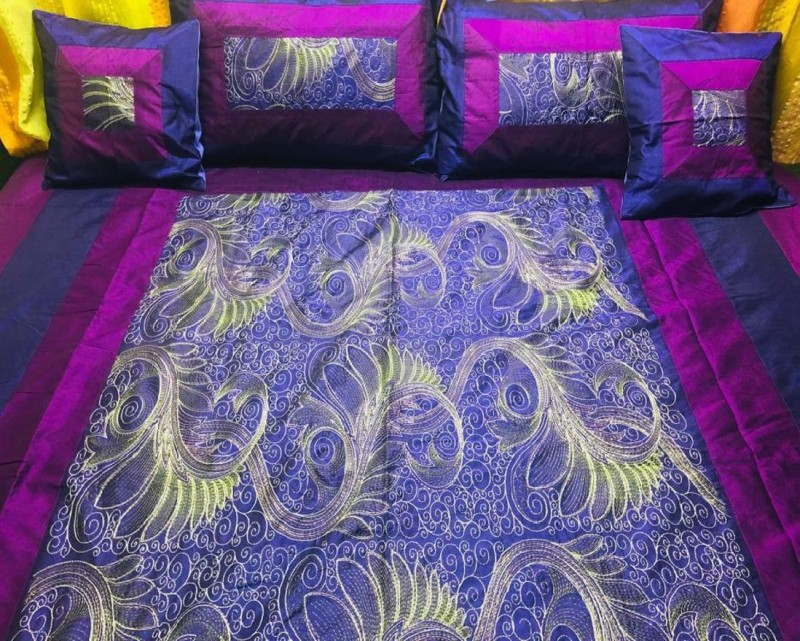 Gurukirpa Traders 240 TC Cotton, Silk Double King, Double Embroidered Bedsheet(Pack of 1, Minsk Purple)