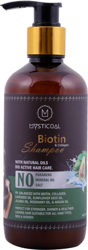 Mysticoal Biotin & Collagen Thickening Shampoo for Hair Volume and Hair Loss,Free from Paraben & Mineral Oil, for Men and Women Hair Shampoo (300 ml) (300 ml)(300 ml)