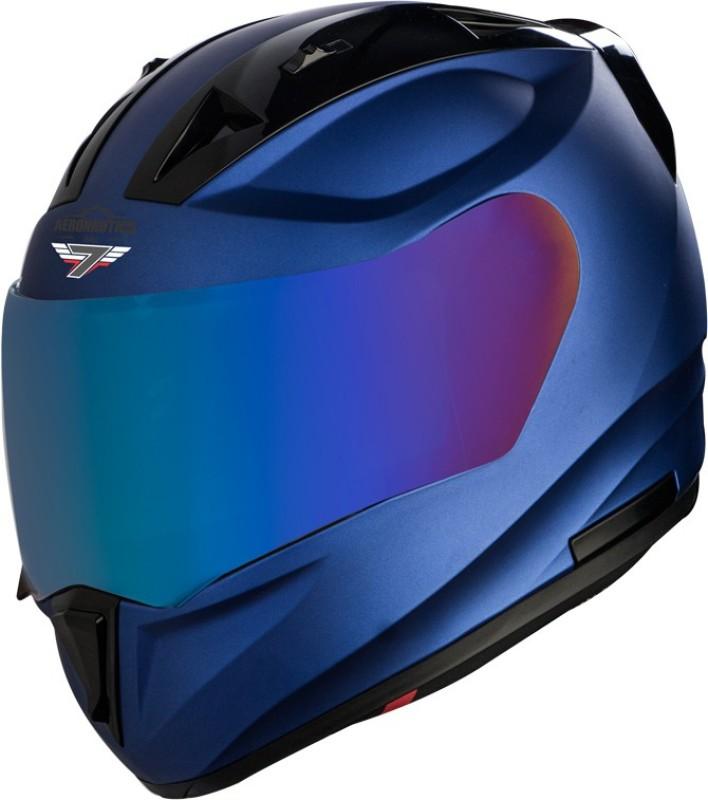 Steelbird SA-1 7Wings Aeronautics Full Face Helmet in Matt Y.Blue Motorbike Helmet(Matt Y.Blue with Chrome Blue visor)