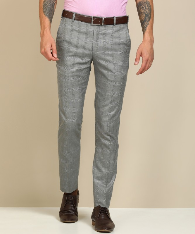 Raymond Slim Fit Men Black, Grey Trousers