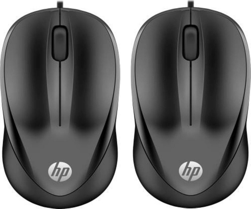 HP 1000 Wired Optical Mouse (USB 3.0, USB 2.0, Black) PACK OF 2 Wired Optical Mouse(USB 3.0, Black)