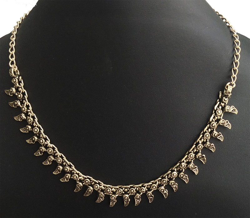 DCASE Stylish & Trendy Most Popular Beautiful Design German Silver Necklace (18 Inch) Gold-plated Plated Brass, Alloy Necklace