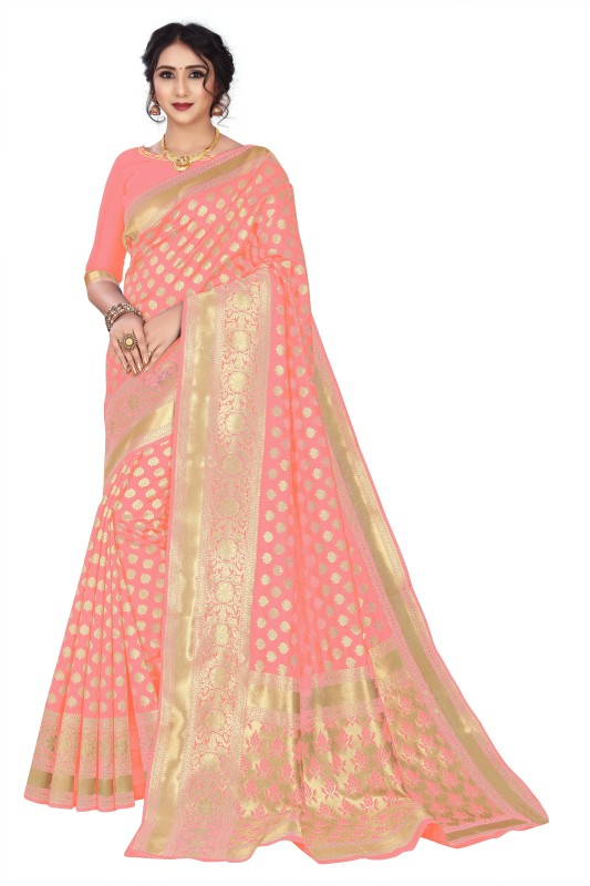 Gymfy Printed, Applique, Floral Print, Solid Bollywood Jacquard, Cotton Silk Saree(Pink)