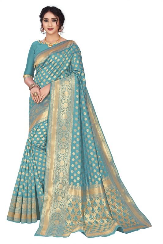 Gymfy Printed, Applique, Floral Print, Solid Bollywood Jacquard, Cotton Silk Saree(Grey)