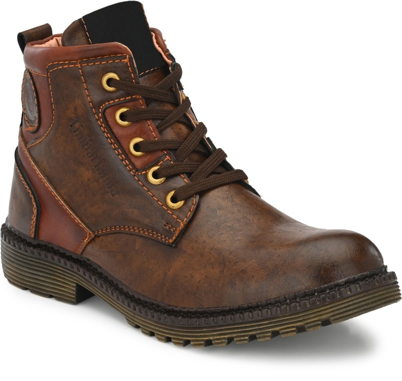 SHURAB Men's Brown Synthetic Lace-up High Ankle Boots Boots For Men(Brown)