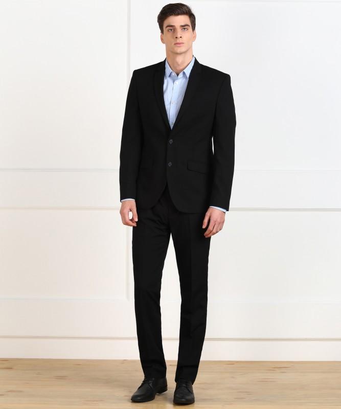 Park Avenue Single Breasted Solid Men Suit