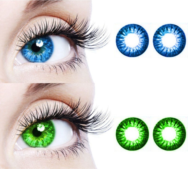 Choice Empire 2 Pair Dark Blue and Dark Green Colored Contact Lens Monthly(0, Colored Contact Lenses, Pack of 2)