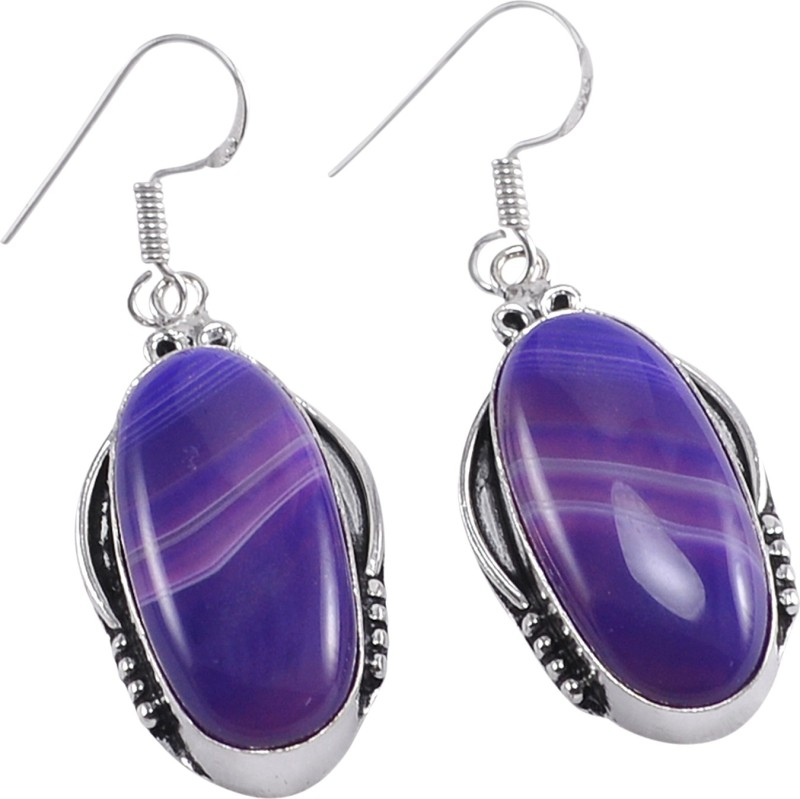 Silvesto India Beautiful ! 925 Silver Plated Handmade Jewelry Manufacturer Trendy Jewelry Banded Agate Jaipur Rajasthan India Classic Dangle Earring Agate Stone, Metal Drops & Danglers