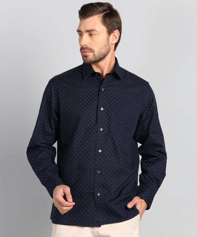 Arrow Men Printed Party Dark Blue Shirt