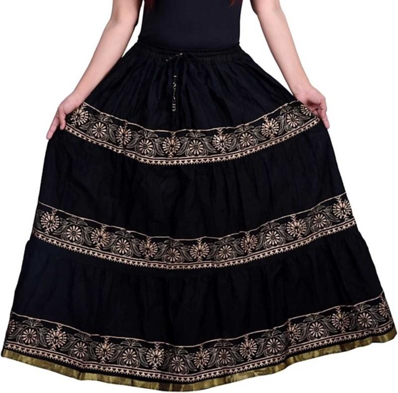FrionKandy Printed Women Regular Black Skirt