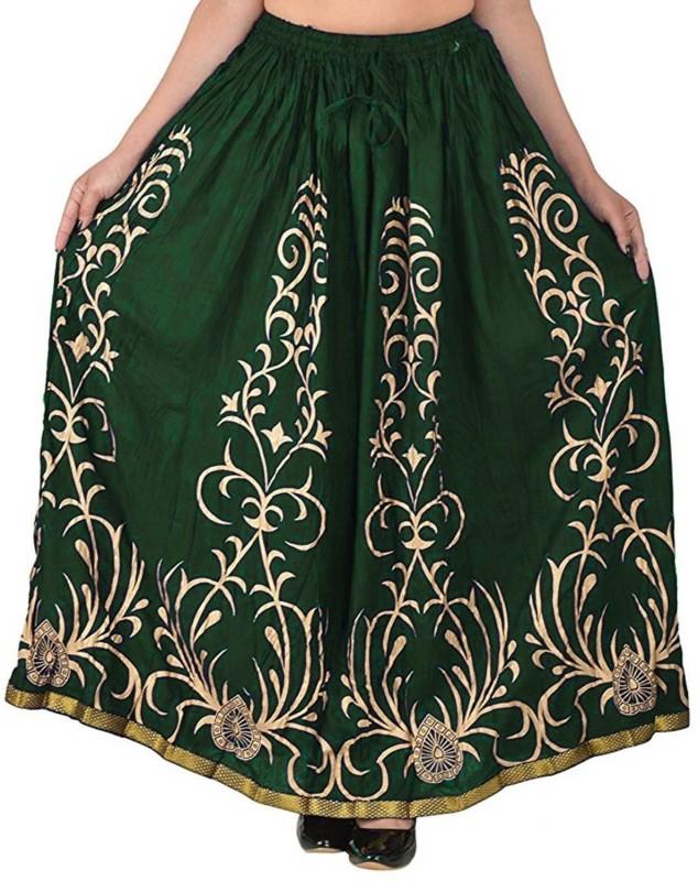 FrionKandy Printed Women Regular Green Skirt