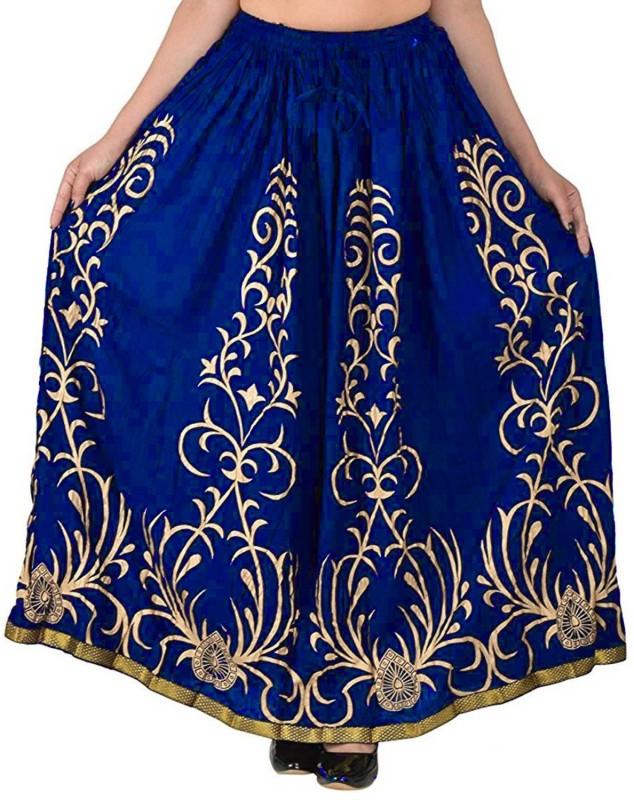 FrionKandy Printed Women Regular Blue Skirt