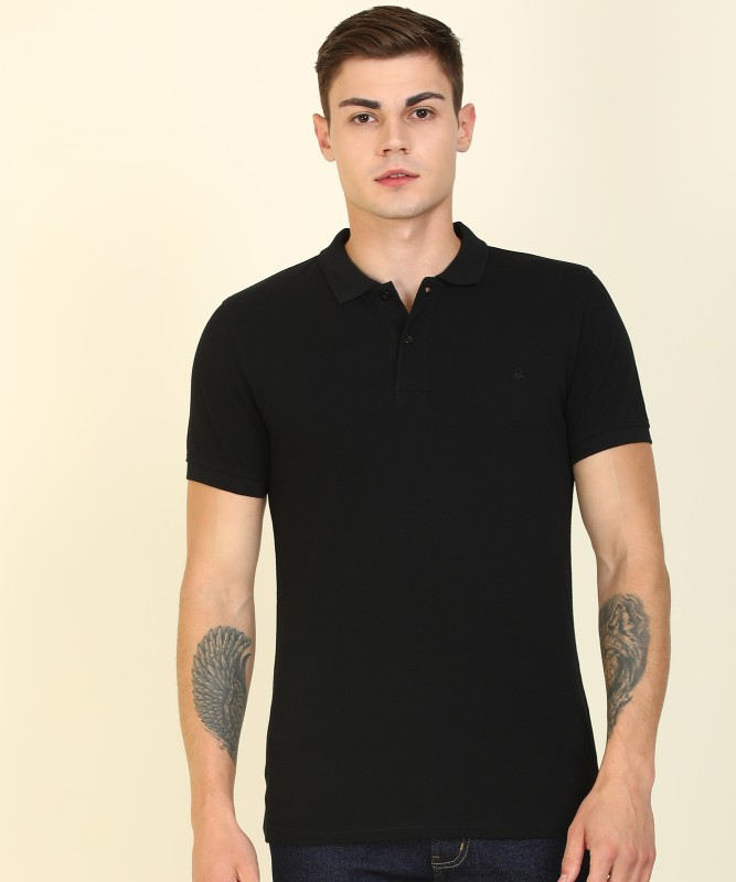 United Colors of Benetton Solid Men Polo Neck Black T-Shirt