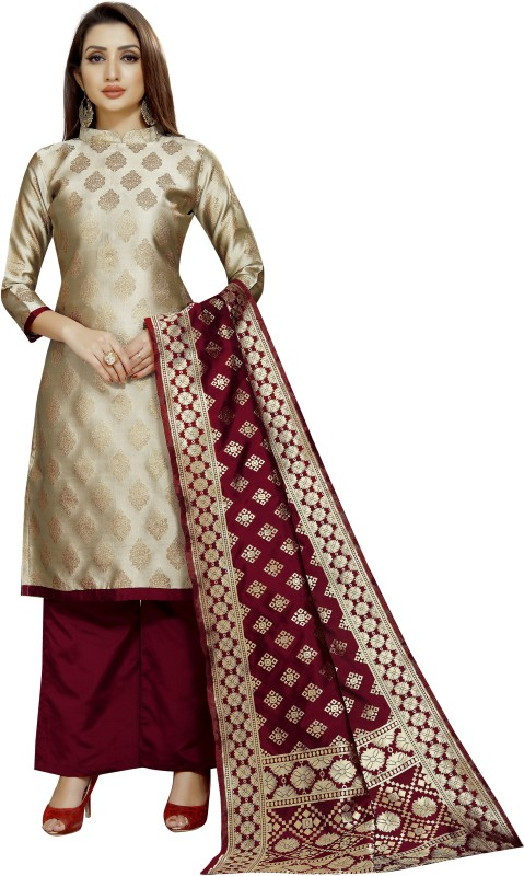 INDIAN CULTURE Brocade Self Design, Solid Kurta & Palazzo Material(Unstitched)