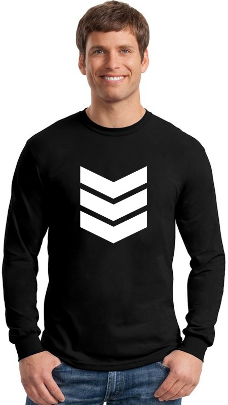 Emmature Printed Men Round Neck Black T-Shirt
