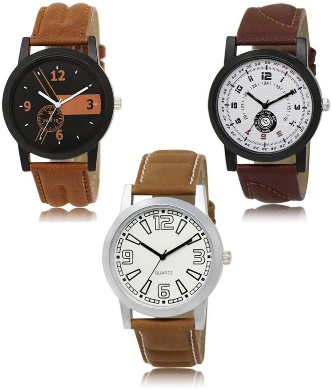 FASHION POOL 01_11_15 MOST STYLISH LEATHER BELT WATCHES FOR MEN_BOYS NEW ARRIVAL TRIPLE COMBO WATCH FAST SELLING TRACK DESIGNER LEATHER BELT WATCH FOR FESTIVAL_PARTY_DIWALI_VALENTINE SPECIAL COMBO WATCH Analog Watch - For Men