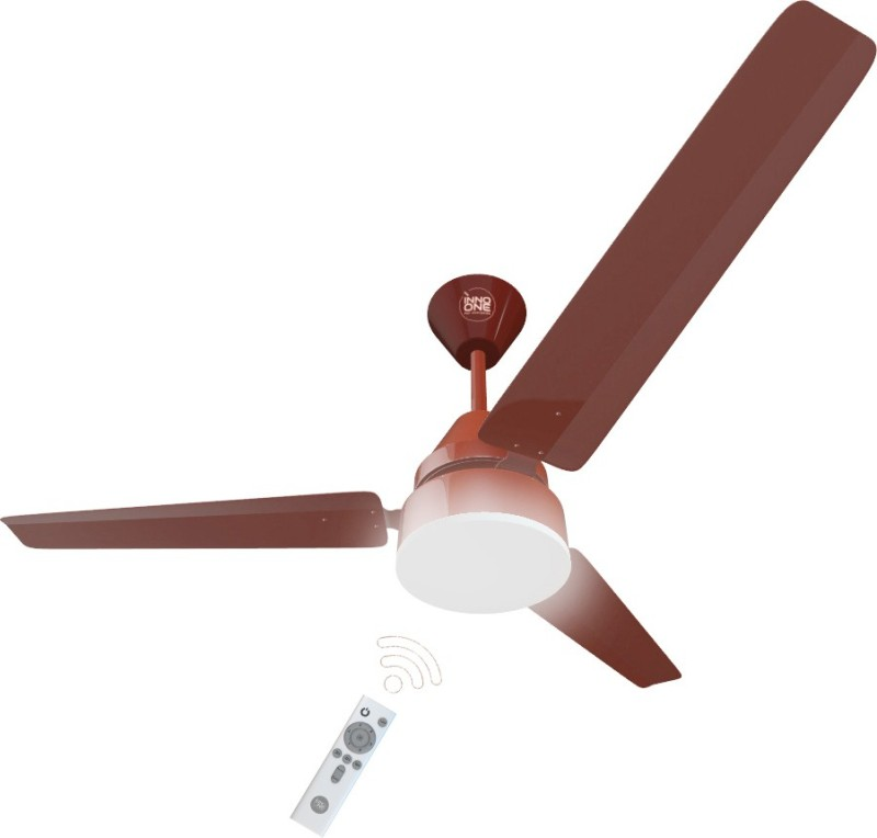INNO ONE Energy Efficient BLDC Ceiling Fan 28W 1200 mm BLDC Motor with Remote 3 Blade Ceiling Fan(Brown, Pack of 1)