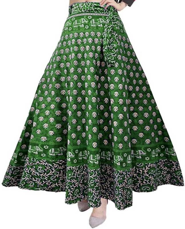 FrionKandy Printed Women Wrap Around Green Skirt
