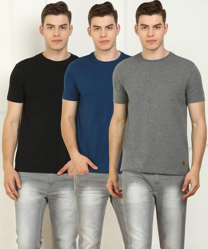 Billion Solid Men Round Neck Multicolor T-Shirt(Pack of 3)