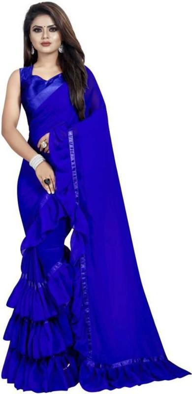 HashTag Fashion Solid Bollywood Georgette, Georgette Satin Blend Saree(Blue)