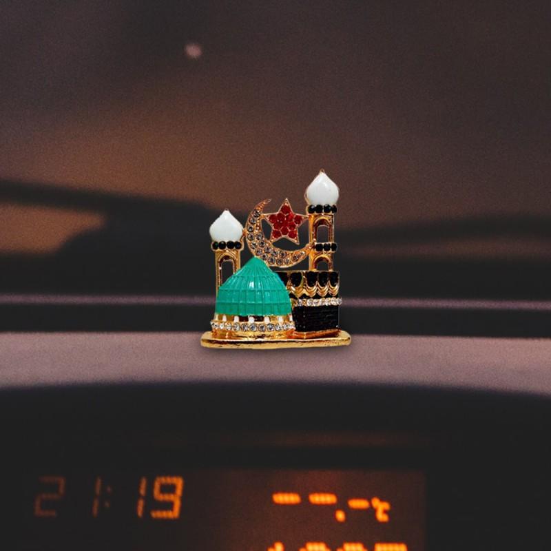 FABZONE Fabzone Allah Sign Car Dashboard Idol Statue & Decorative Spritual Ibadat Vastu Showpiece - Muslim Religious Ibadat Gift Item Mujasma Sazi for Masjid Decorative Showpiece - 4.5 cm(Metal, Multicolor)