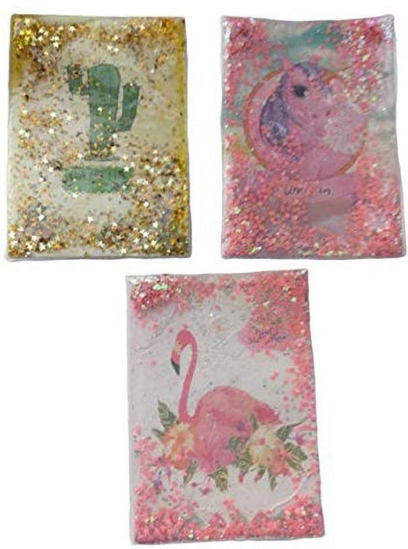 Nature Arts and Colours Liquid Water Filled Glitter Personal Notebook A5 Notebook 180 Pages(Multicolor, Pack of 3)
