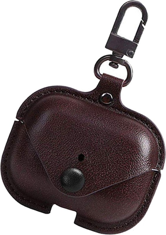 Esaanvika Front & Back Case for APPLE AirPods Pro 2019 Case Cover   Genuine Leather Case Metal Keychain(Brown)
