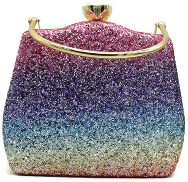 Tooba HANDICRAFT Party Multicolor, Purple Clutch