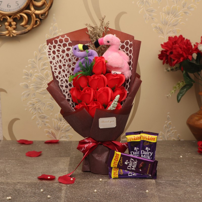 TIED RIBBONS Valentine Gifts for Girlfriend Wife Girls Her - Love Gift Pack ( Bouquet of Red Scented Rose Flowers , Swan Keychains and Dairy Milk Chocolates ) Assorted Gift Box(Multicolor)