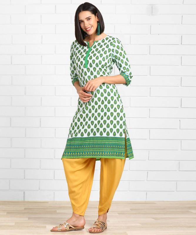 Anmi Printed Women Straight Kurta(Green)