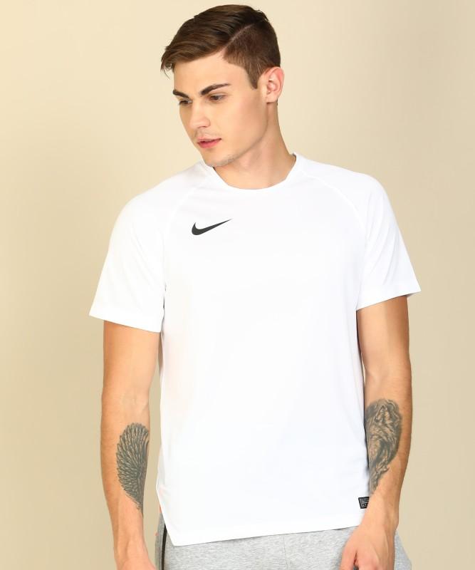 Nike Solid Men Round Neck White T-Shirt