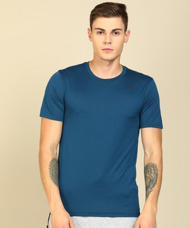Nike Solid Men Round Neck Dark Blue T-Shirt