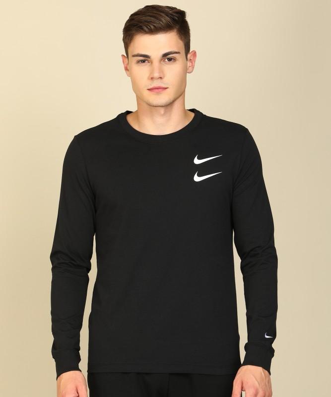 Nike Printed Men Round Neck Black T-Shirt