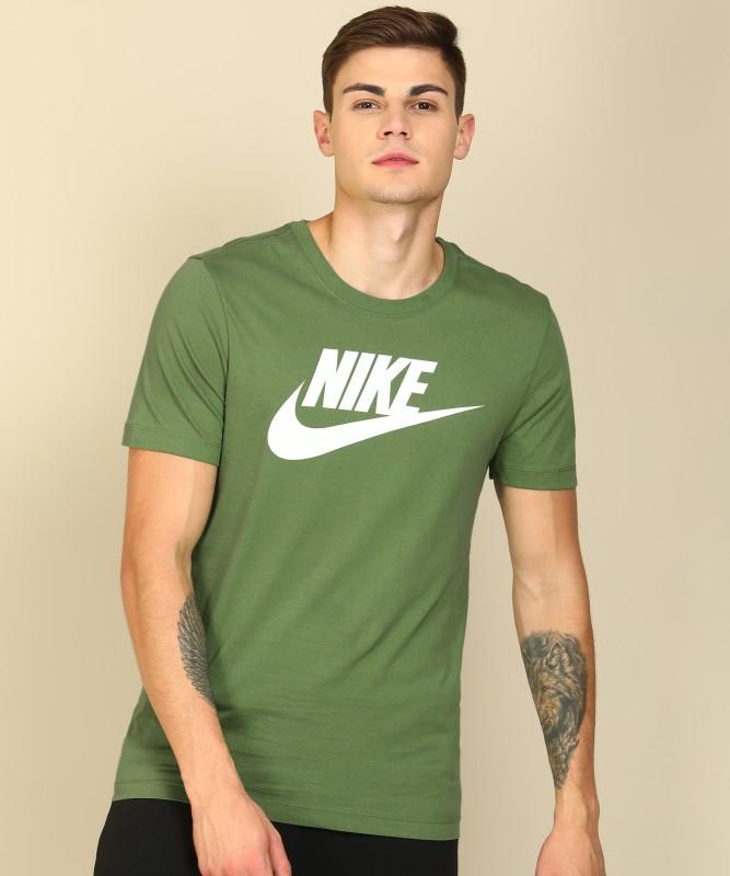 Nike Printed Men Round Neck Green T-Shirt