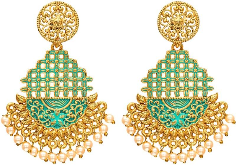 Luxor Stylish Trendy Latest Design Gold Plated Meenakari Pearl Alloy Jhumki Earring