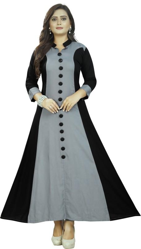 PMD Fashion Flared/A-line Gown(Black, Grey)