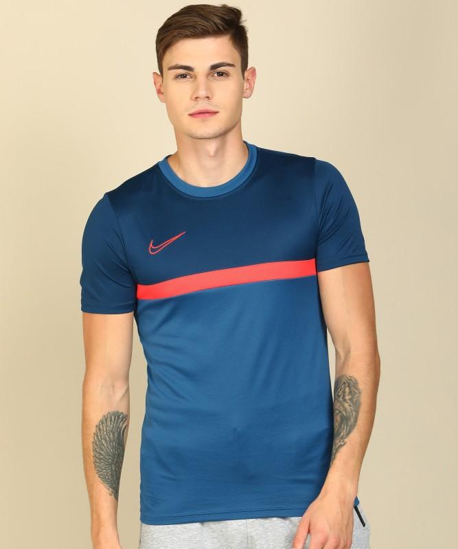 Nike Color Block, Mesh Men Round Neck Blue T-Shirt