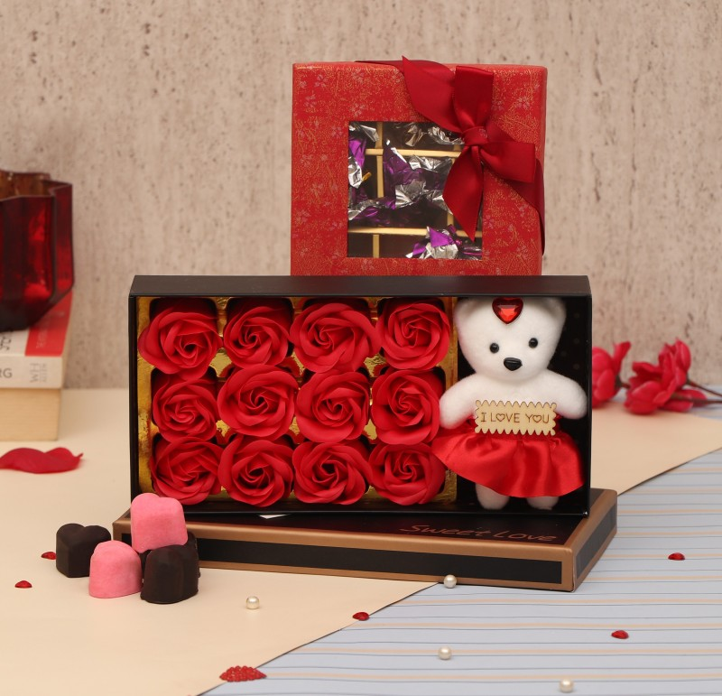 TIED RIBBONS Valentine Gifts for Girlfriend Wife Girls Her - Love Gift Pack (Scented Rose Flowers Gift Box with Teddy and Handmade Chocolate Box) Assorted Gift Box(Multicolor)