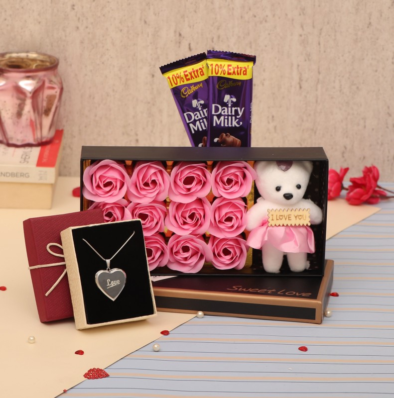 TIED RIBBONS Valentine Gifts for Wife Girlfriend Girls Her - Love Gift Pack ( Scented Rose Flowers Gift Box with Teddy, Small Greeting Card ,Heart Shape Pendant and Dairy Milk Chocolate) Assorted Gift Box(Multicolor)
