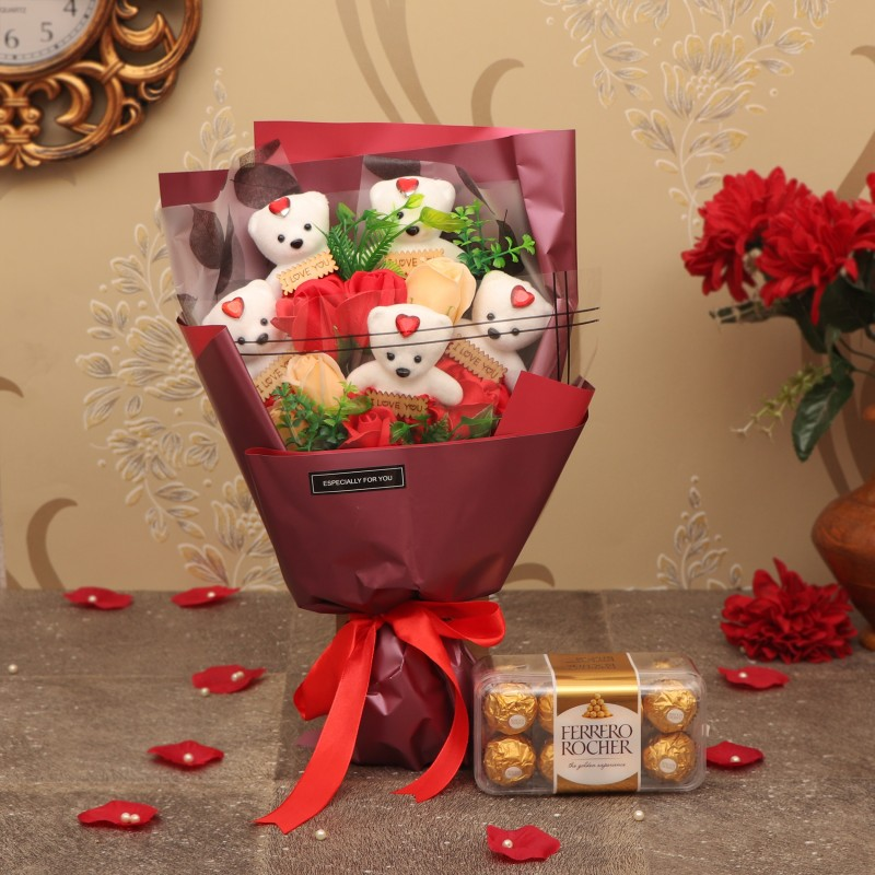 TIED RIBBONS Valentine Gifts for Girls Girlfriend Wife Her - Special Gift Combo ( Bouquet of Red and White Scented Rose Flowers , 5 Teddy with Message , Ferrero Rocher Pack of 6 Chocolates ) Assorted Gift Box(Multicolor)