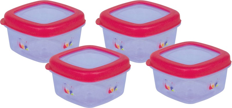 Princeware - 400 ml Plastic Grocery Container(Pack of 4, Clear, Pink)