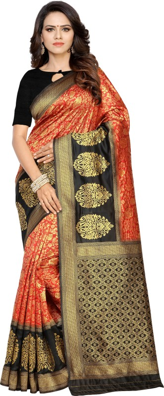 BABA Fab Woven Banarasi Pure Silk Saree(Black)
