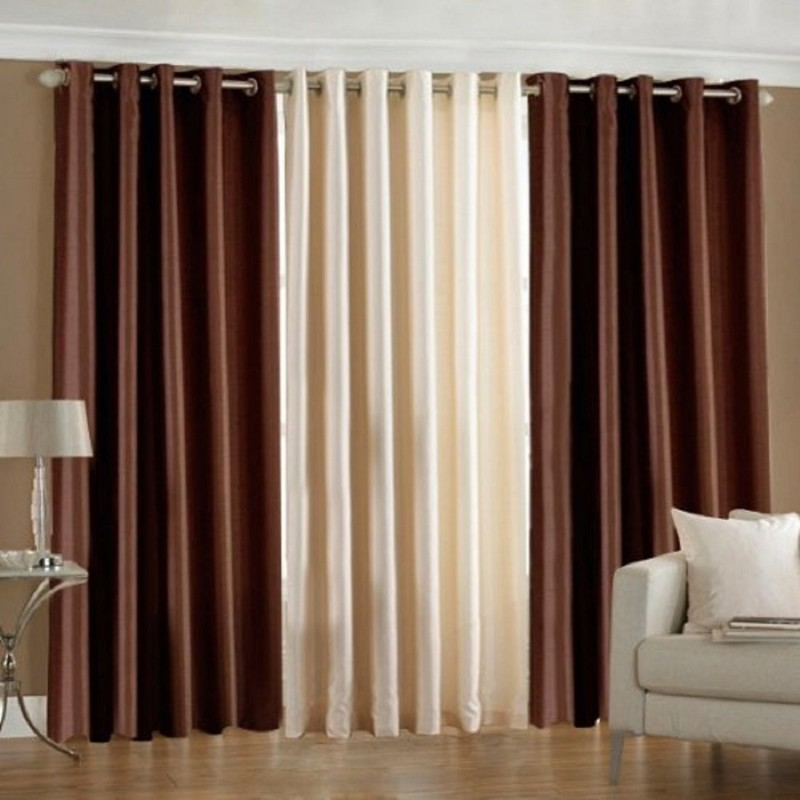 check MRP of brown and cream curtains Kiara Creations