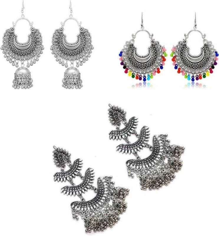 Oblivion Combo of 3 Designer Trendy Jhumki earrings Silver, for women and Girls Alloy Stud Earring, Chandbali Earring, Jhumki Earring