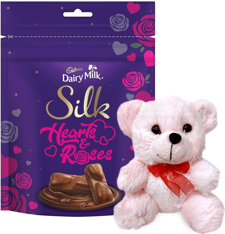 Cadbury Dairy Milk Silk Valentine's Home Treats, 162g With Teddy Combo(1 Unit Cadbury Dairy Milk Silk Valentine's Home Treats 162g,, 1 unit Teddy)