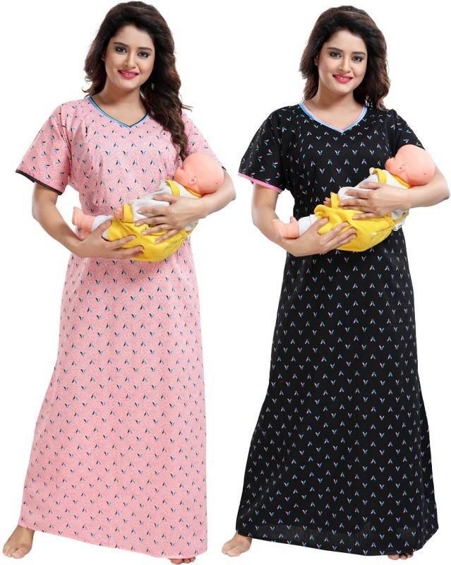TUFAB Women Maternity/Nursing Nighty(Black)